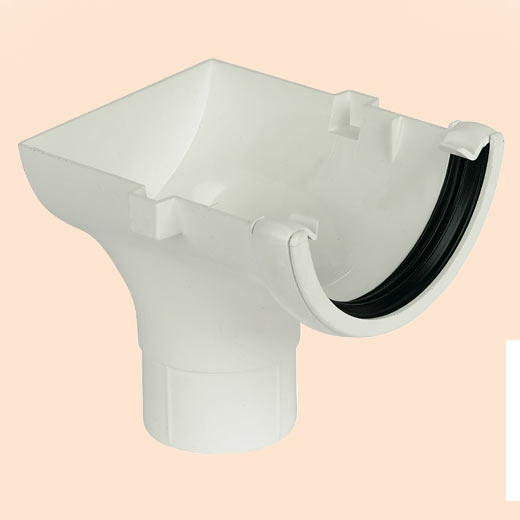 White Round Gutter Stopend Outlet